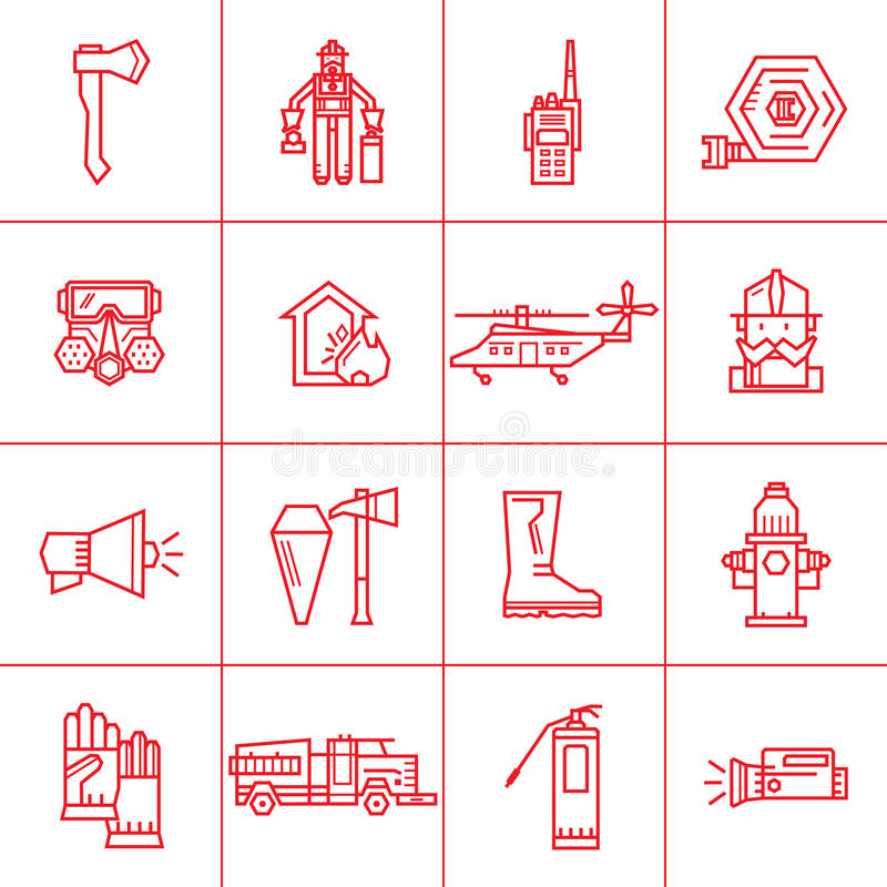 Fire department contour icons stock vector illustration of icon set icons outline fire safety flame truck fire extinguisher firefighter suitable for banners business cards web sites colourmoves