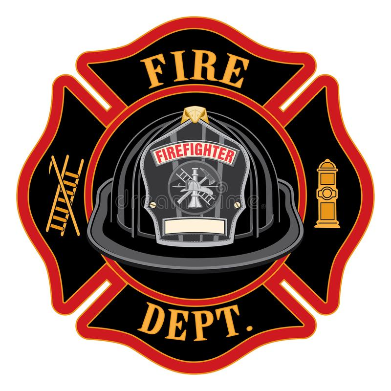 Fire Department Cross Black Helmet. Is an illustration of a fireman or firefighter Maltese cross emblem with a black firefighter helmet and badge containing an stock illustration