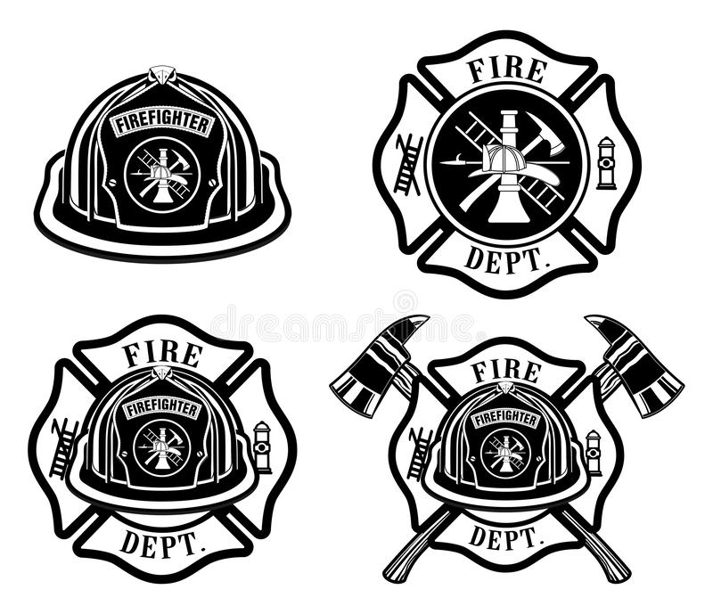 Fire Department Cross and Helmet Designs. Is an illustration of four fireman or firefighter Maltese cross design which includes fireman`s helmet with badges and