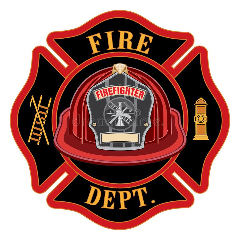 Fire Department Cross Red Helmet. Is an illustration of a fireman or firefighter Maltese cross emblem with a red firefighter helmet and badge containing an royalty free illustration