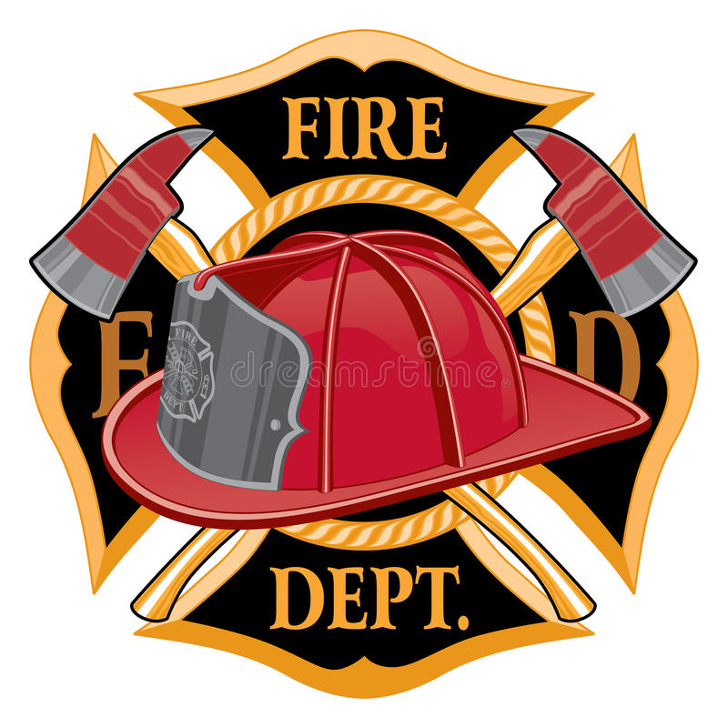 Fire Department Cross Symbol. Is an illustration of a fireman or firefighter Maltese cross emblem with a firefighter helmet and firefighter axes in the stock illustration