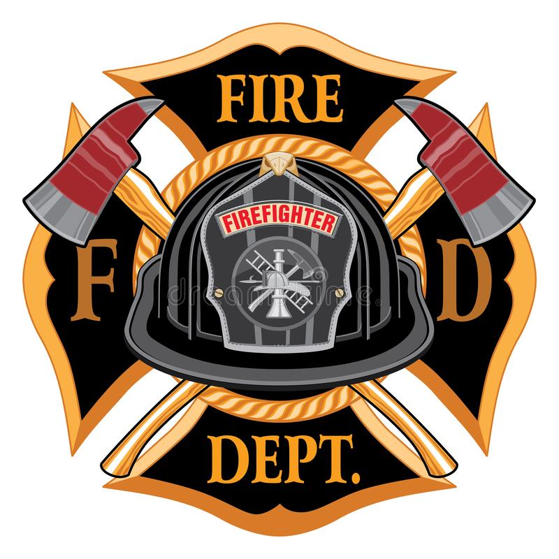 Fire Department Cross Vintage with Black Helmet and Axes royalty free illustration