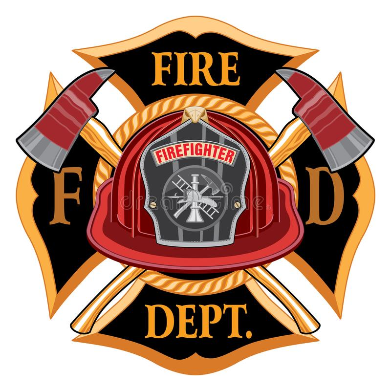 Fire Department Cross Vintage with Red Helmet. And Axes is an illustration of a vintage fireman or firefighter Maltese cross emblem with a red firefighter stock illustration