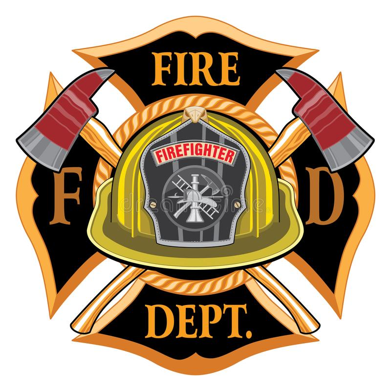 Fire Department Cross Vintage with Yellow Helmet and Axes. Is an illustration of a vintage fireman or firefighter Maltese cross emblem with a yellow volunteer vector illustration