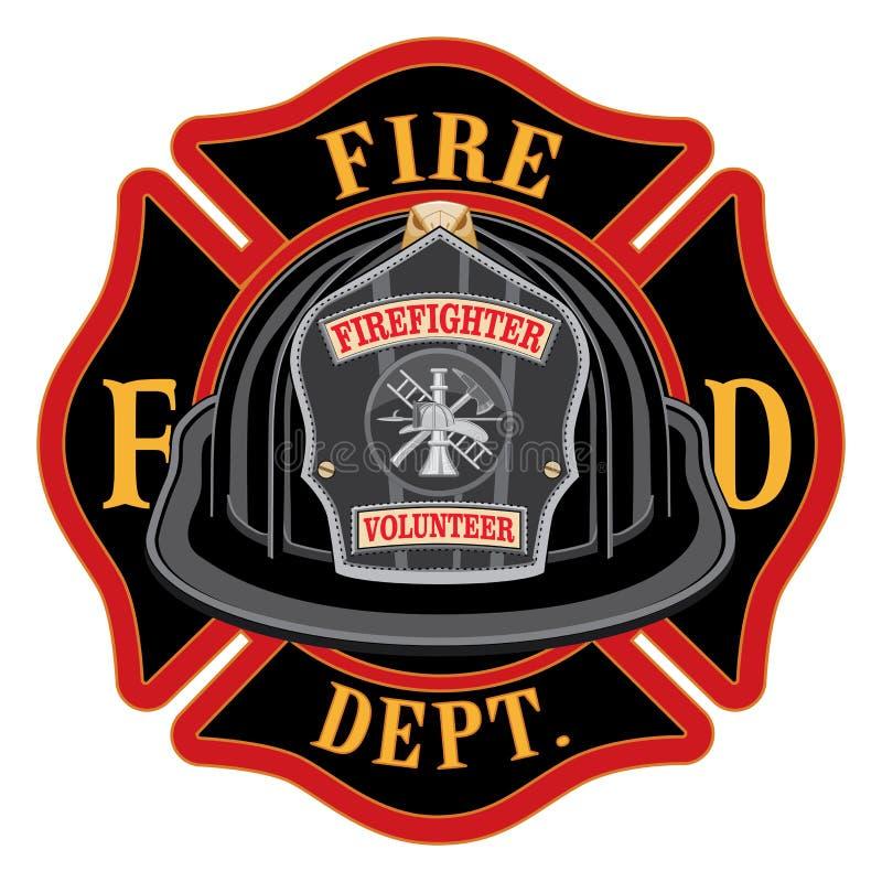Fire Department Cross Volunteer Black Helmet. Is an illustration of a fireman or firefighter Maltese cross emblem with a black volunteer firefighter helmet and vector illustration