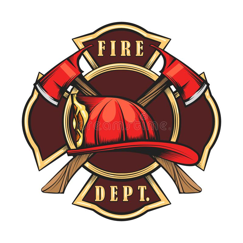 Fire Department Emblem. With Red Helmet and Axes. Firefighter badge drawn in engraving style. Vector illustration royalty free illustration