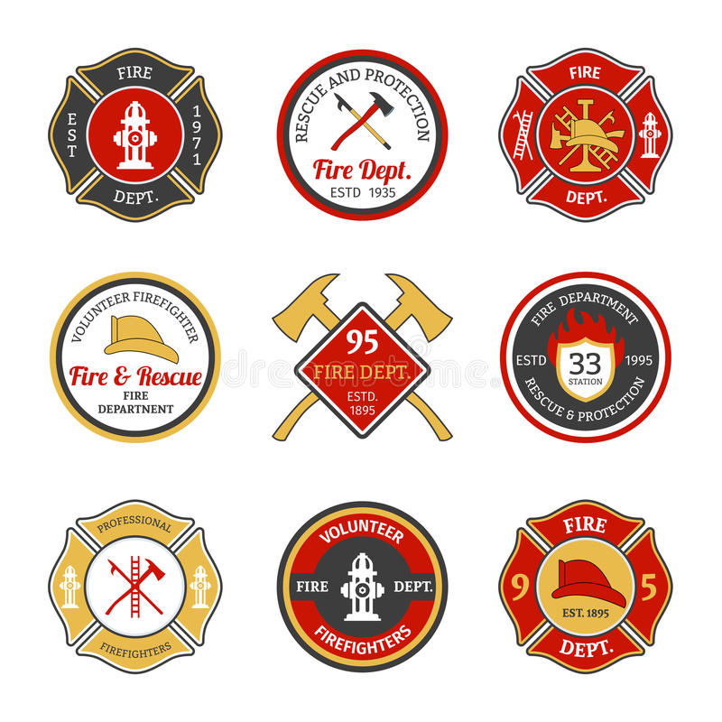 Fire department emblems. Fire department rescue and protection volunteers and professional firefighter emblems set isolated vector illustration royalty free illustration