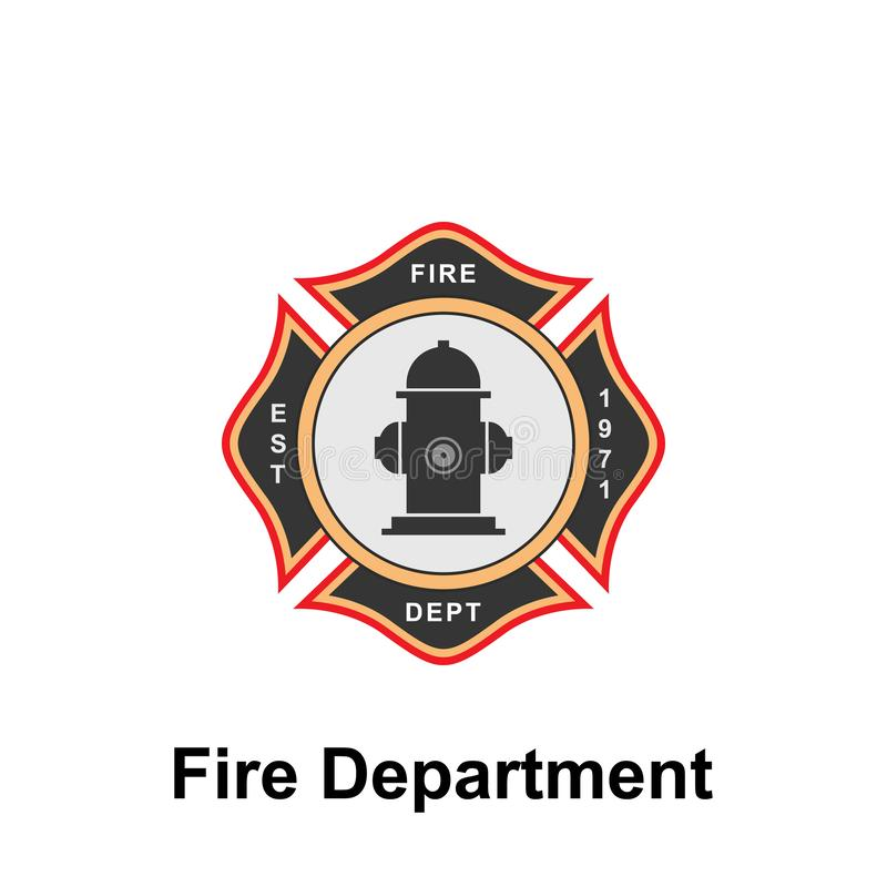 Fire Department, EST. icon. Element of color fire department sign icon. Premium quality graphic design icon. Signs and symbols. Collection icon for websites on vector illustration