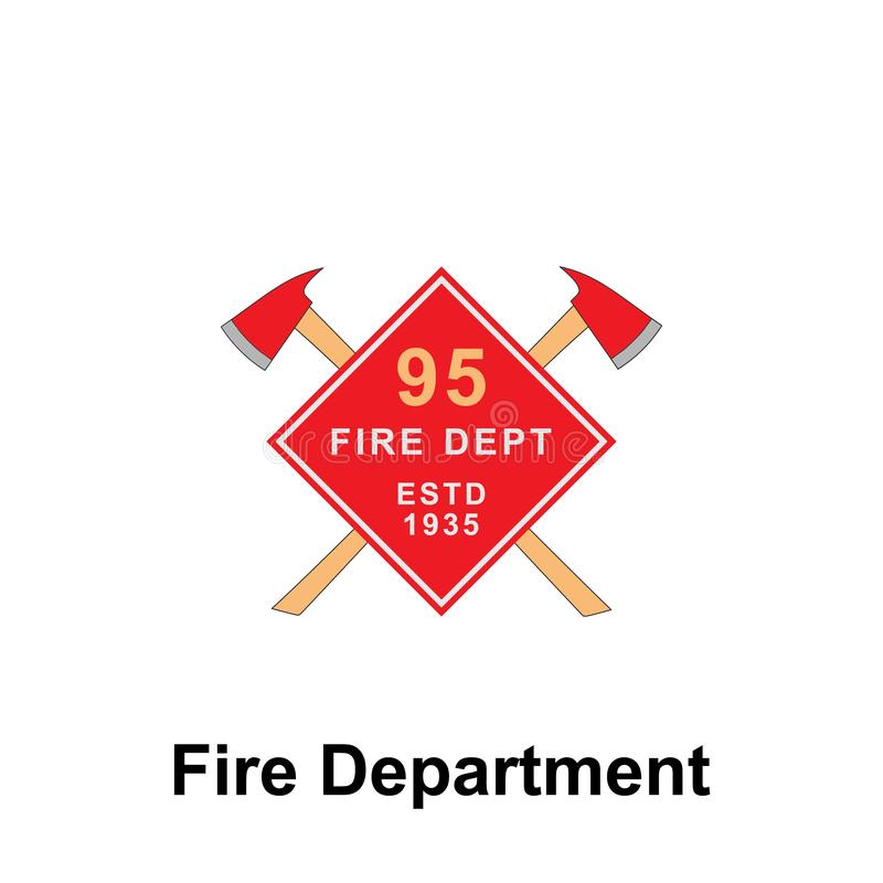 Fire Department, ESTD 1935 icon. Element of color fire department sign icon. Premium quality graphic design icon. Signs and. Symbols collection icon for stock illustration