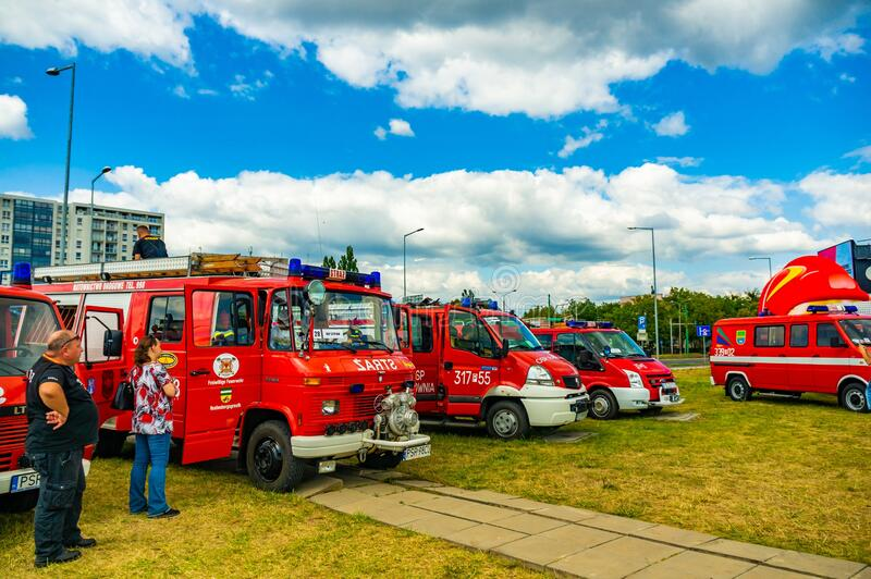 Fire department event. POZNAN, POLAND - Jun 21, 2019: Fire department event in the city with exposition vehicles royalty free stock image