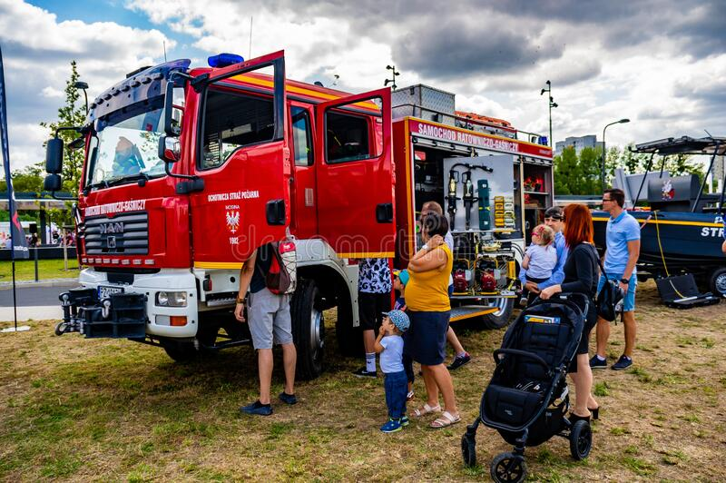 Fire department event. POZNAN, POLAND - Jun 21, 2019: Fire department event in the city with exposition vehicles royalty free stock photography