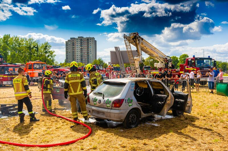 Fire department event. POZNAN, POLAND - Jun 21, 2019: Fire department event in the city with exposition vehicles stock photography