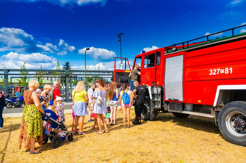 Fire department event. POZNAN, POLAND - Jun 21, 2019: Fire department event in the city with exposition vehicles stock photos