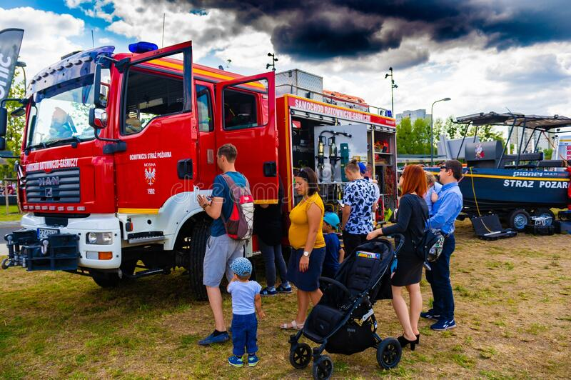 Fire department event. POZNAN, POLAND - Jun 21, 2019: Fire department event in the city with exposition vehicles royalty free stock photos