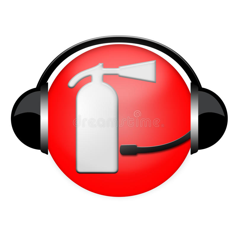 Fire Department Extinguisher Headphone Sign Royalty Free Stock Photo