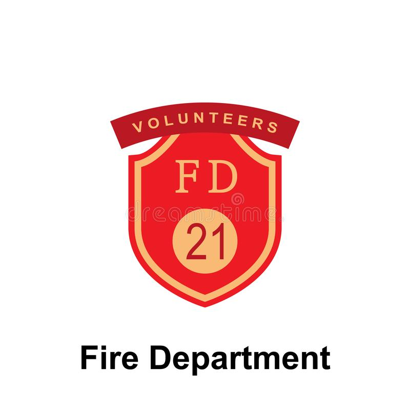 Fire Department, FD 21 icon. Element of color fire department sign icon. Premium quality graphic design icon. Signs and symbols. Collection icon for websites on vector illustration