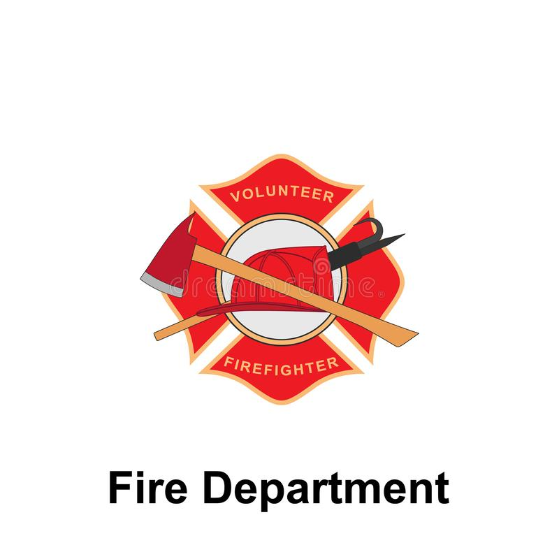 Fire Department, Firefighter icon. Element of color fire department sign icon. Premium quality graphic design icon. Signs and. Symbols collection icon for royalty free illustration