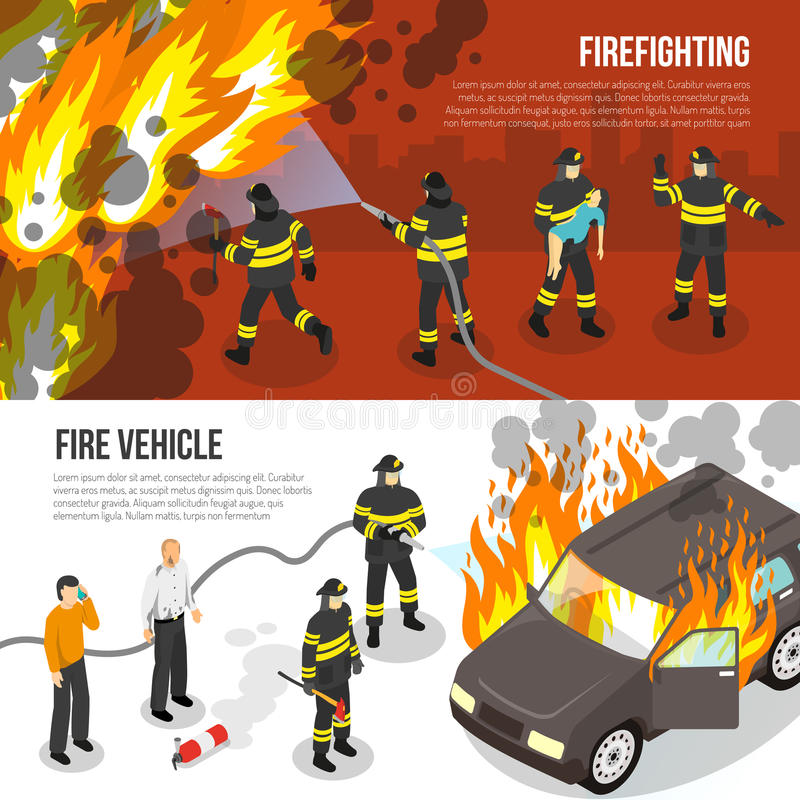 Fire Department Horizontal Banners. Horizontal banners with fire department fighting with flame in city and near burning car isolated vector illustration vector illustration