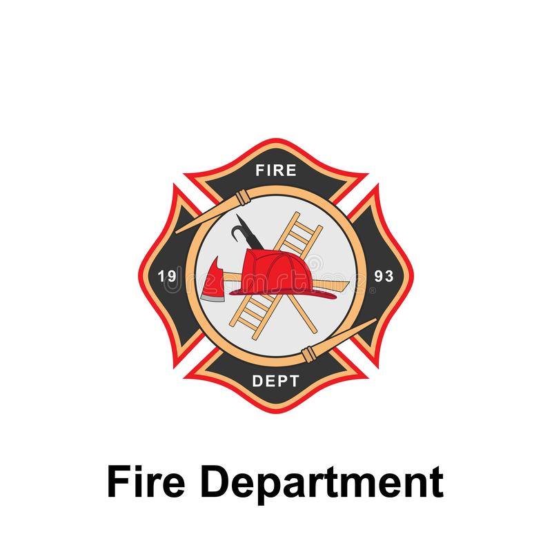 Fire Department, 1993 icon. Element of color fire department sign icon. Premium quality graphic design icon. Signs and symbols. Collection icon for websites on stock illustration