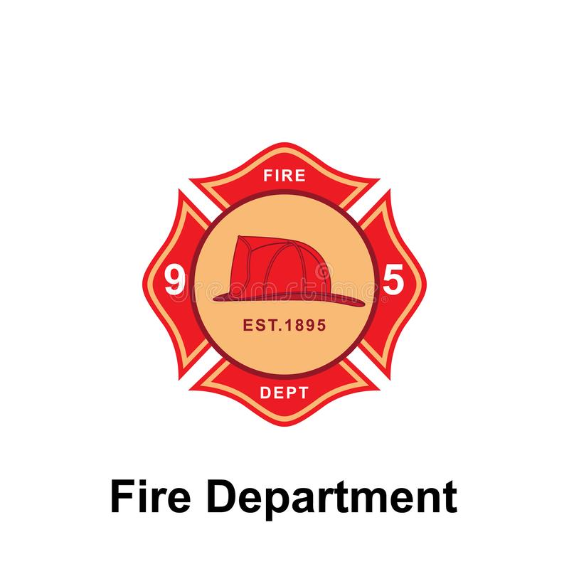 Fire Department, 95 icon. Element of color fire department sign icon. Premium quality graphic design icon. Signs and symbols. Collection icon for websites on stock illustration