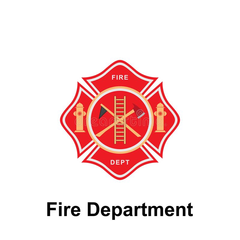 Fire Department,  icon. Element of color fire department sign icon. Premium quality graphic design icon. Signs and symbols. Collection icon for websites on vector illustration