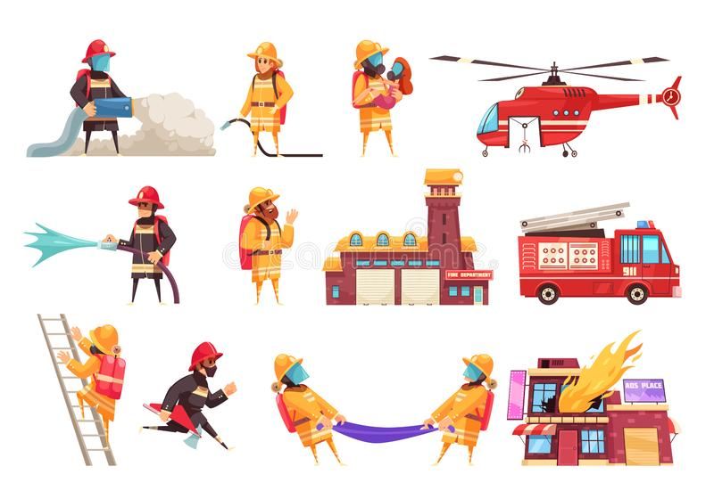 Fire Department Icon Set. Fire department firefighter set with flat isolated images of fire extinguishing equipment vehicles and human characters vector stock illustration