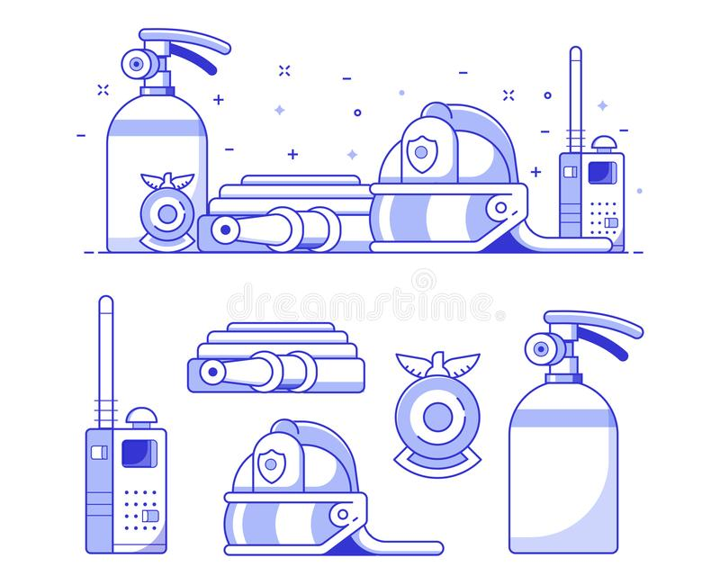 Fire Department Icon Set stock illustration
