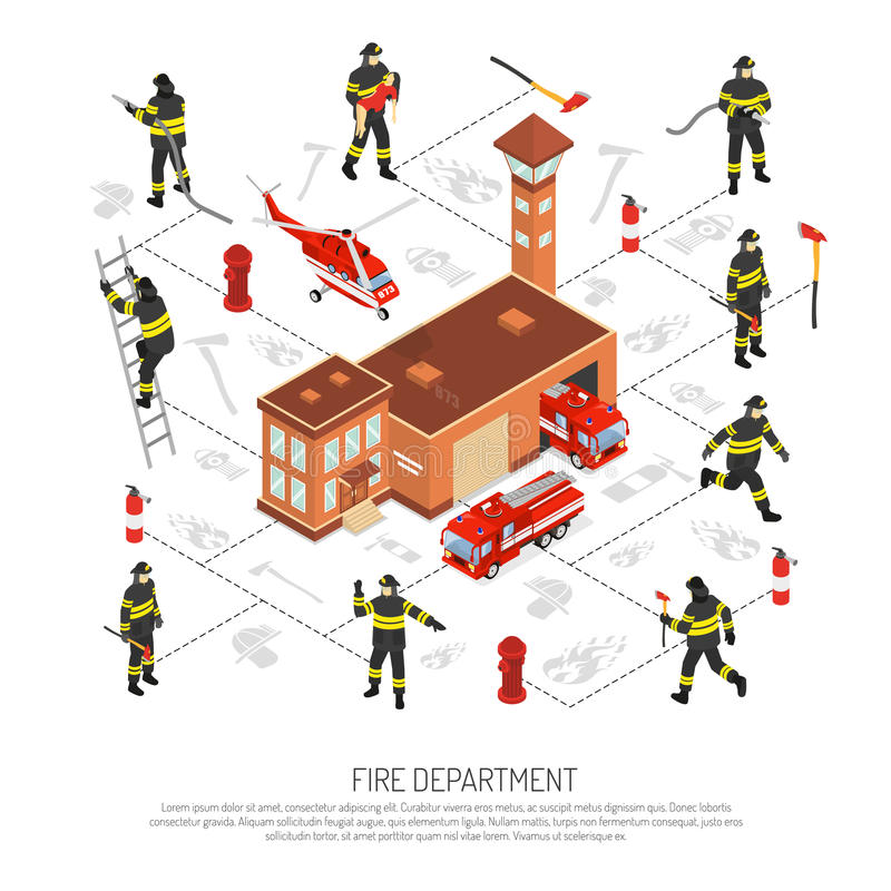 Fire Department Infographic. Colored isometric fire department infographic with various situations occurring in fire fighting vector illustration stock illustration