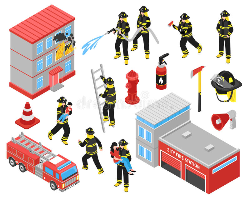Fire Department Isometric Icons Set vector illustration