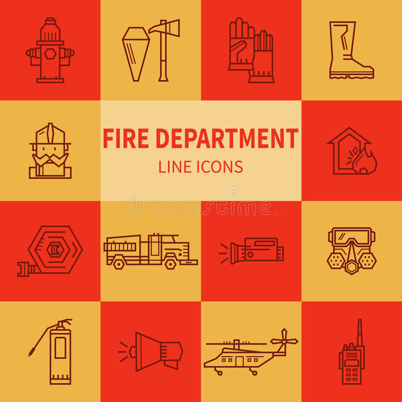 Fire Department Linear Icons. Stock Vector - Image: 81003595