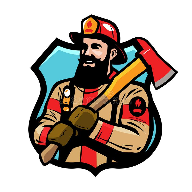 Fire department logo or label. American firefighter, fireman in helmet holds an ax in his hands. Cartoon vector stock illustration