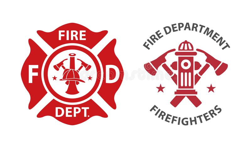 Fire department logo. S, set of modern and vintage royalty free illustration