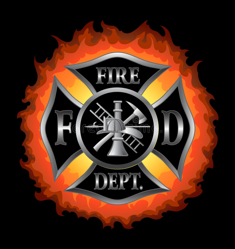 Fire Department Maltese Cross With Flames stock illustration