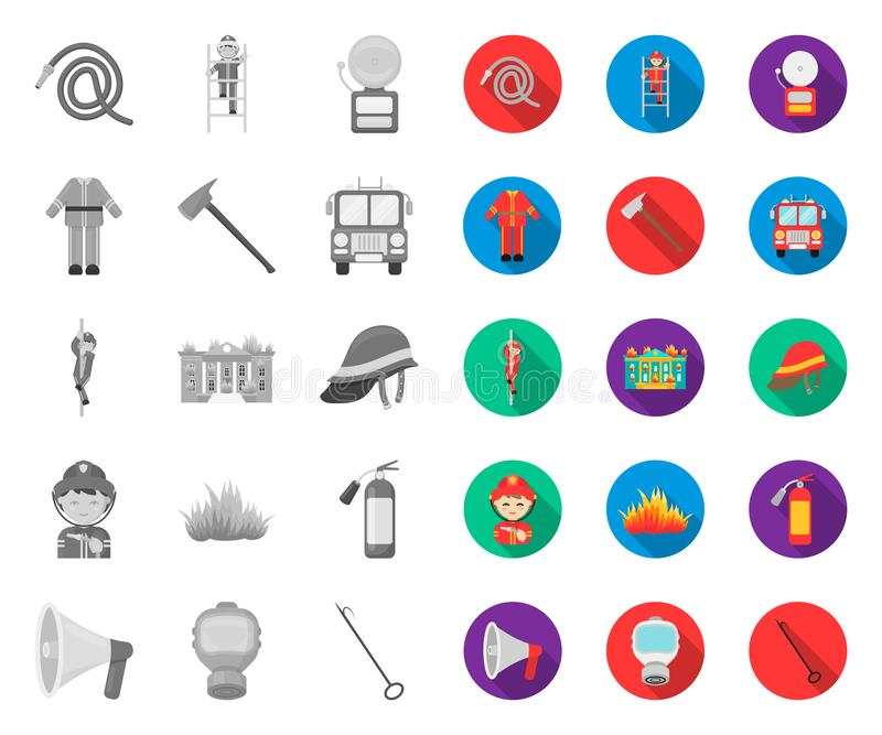 Fire Department mono,flat icons in set collection for design. Firefighters and equipment vector symbol stock web. Fire Department mono,flat icons in set stock illustration