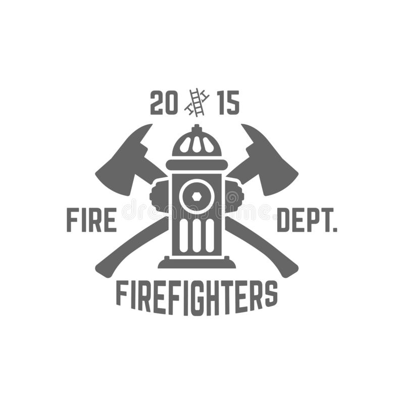 Fire department vector emblem with fire hydrant. Fire department monochrome vector label on white background, fire hydrant and two crossed axes stock illustration