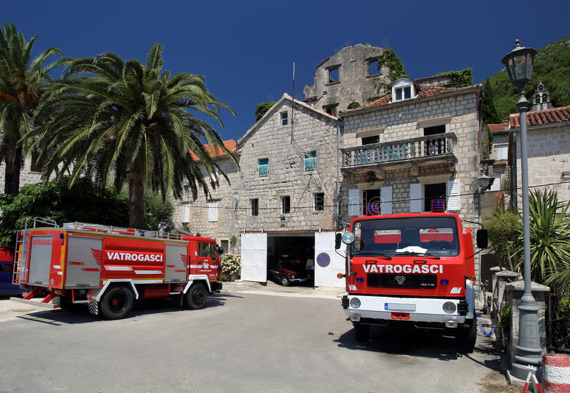 Fire department in Perast royalty free stock images