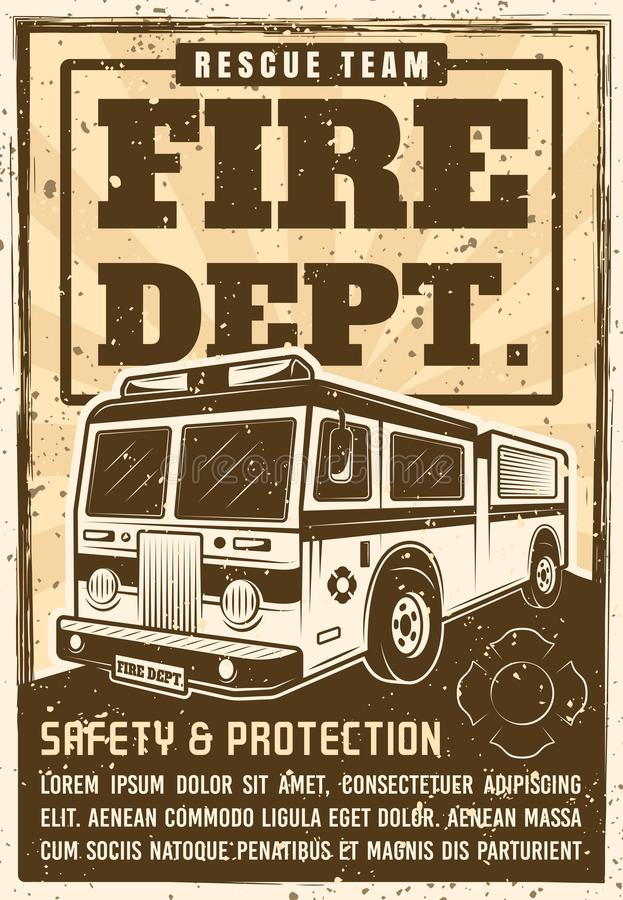 Fire department poster in vintage style with truck stock illustration