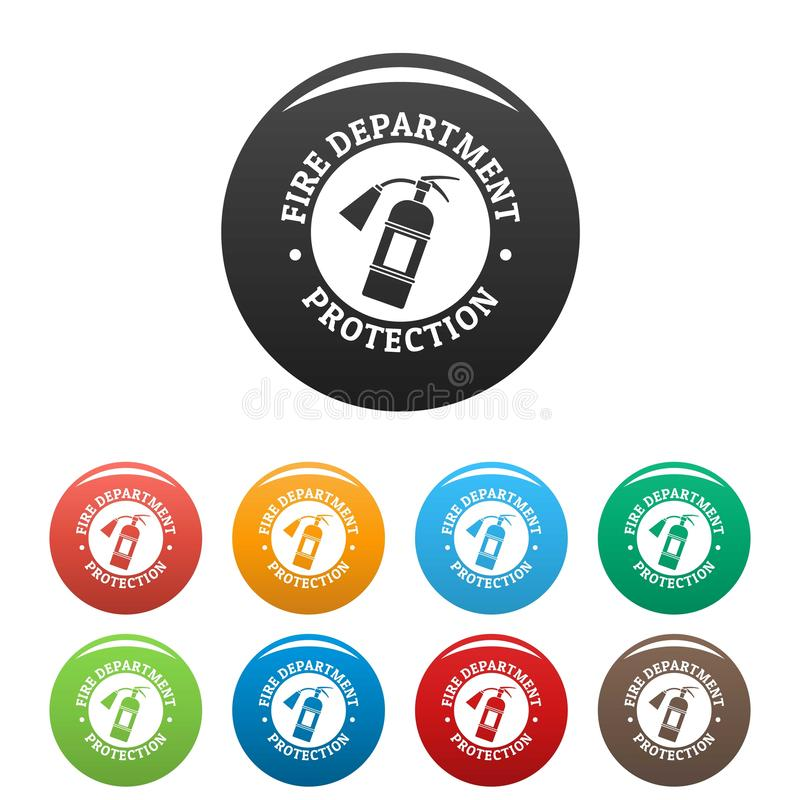 Fire department protection icons set color royalty free illustration