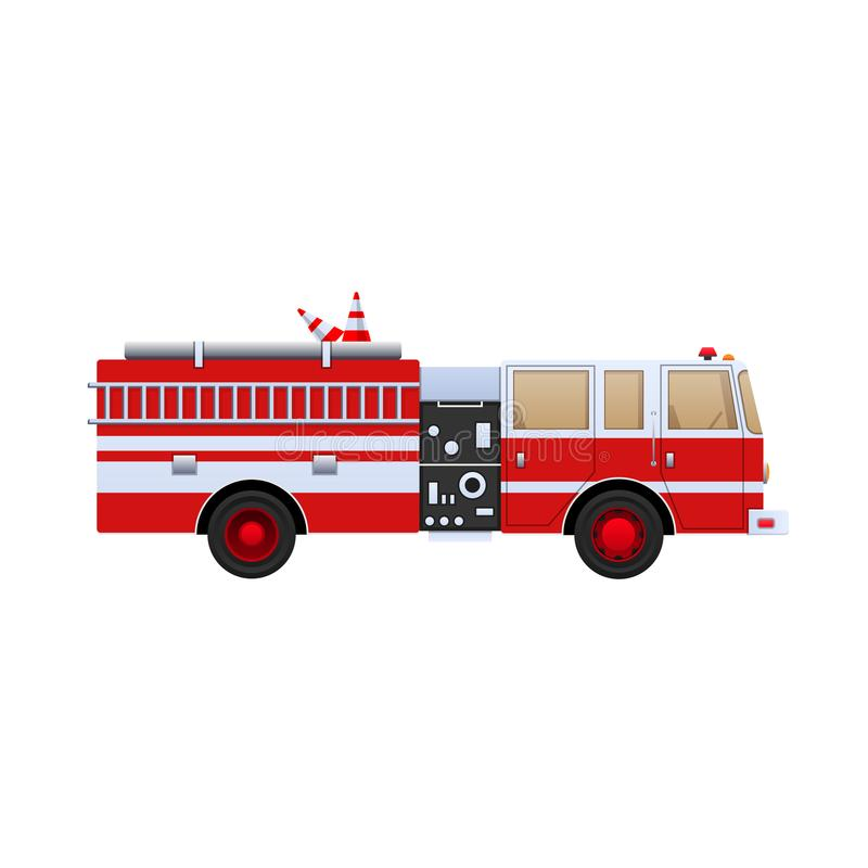 Fire Department. Red truck with white stripes, eliminating fire. Fire Department. Red truck with white stripes, eliminating fire and fire, help in putting out stock illustration