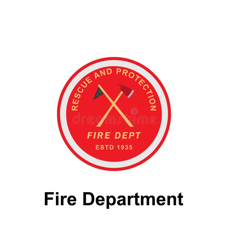 Fire Department, Rescue & Protection icon. Element of color fire department sign icon. Premium quality graphic design icon. Signs. Fire Department, Rescue vector illustration