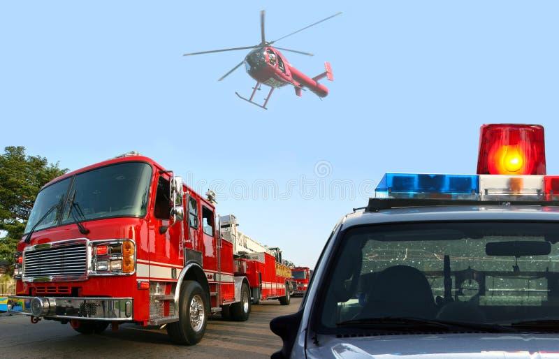 Fire department response stock photo