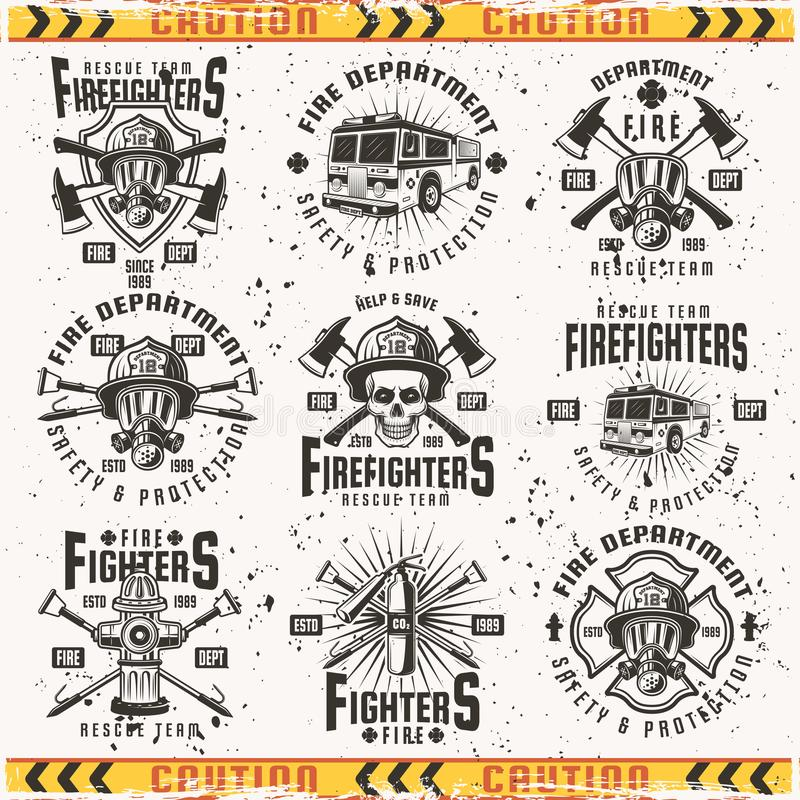 Fire department set of vector vintage emblems. Fire department set of vector emblems, labels, badges and logos in vintage style isolated on background with vector illustration