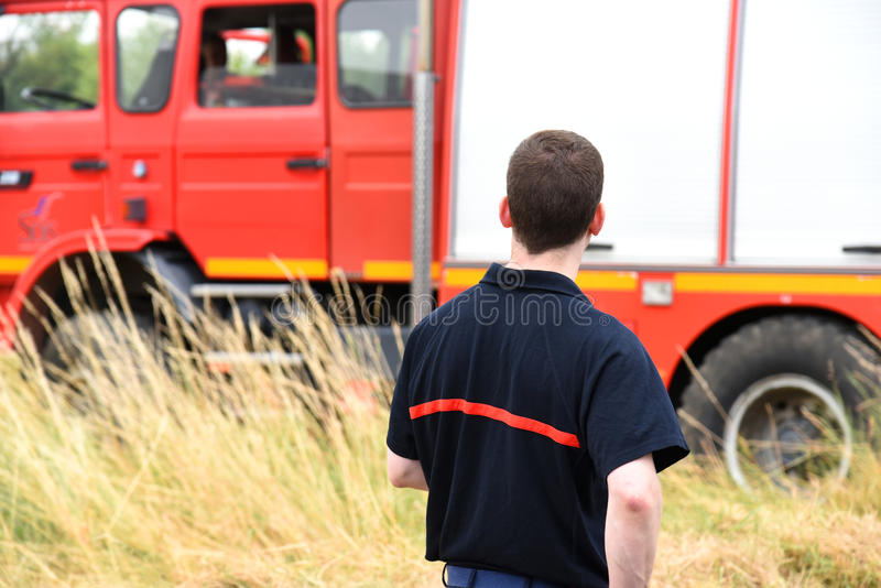 Fire department. Training in france stock photo