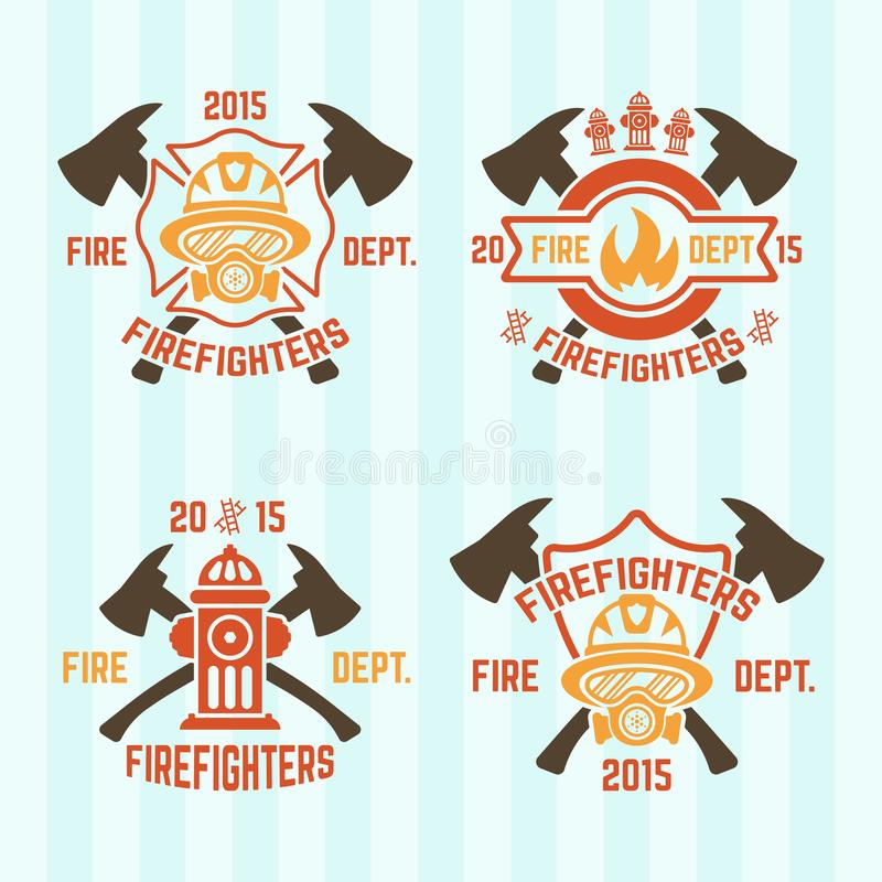 Fire department vector colored emblems. Set of fire department vector colored labels or emblems vector illustration