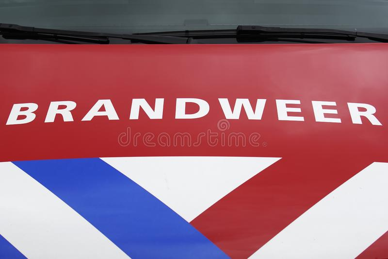 Fire Department vehicle front view Dutch: Brandweer. Fire Department in Dutch: Brandweer Vehicle, commander van. Safety car when accidents happen stock photo