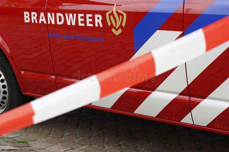Fire Department vehicles Dutch: Brandweer. Fire Department in Dutch: Brandweer Vehicle, commander van. Safety car when accidents happen. Region Rotterdam stock photography