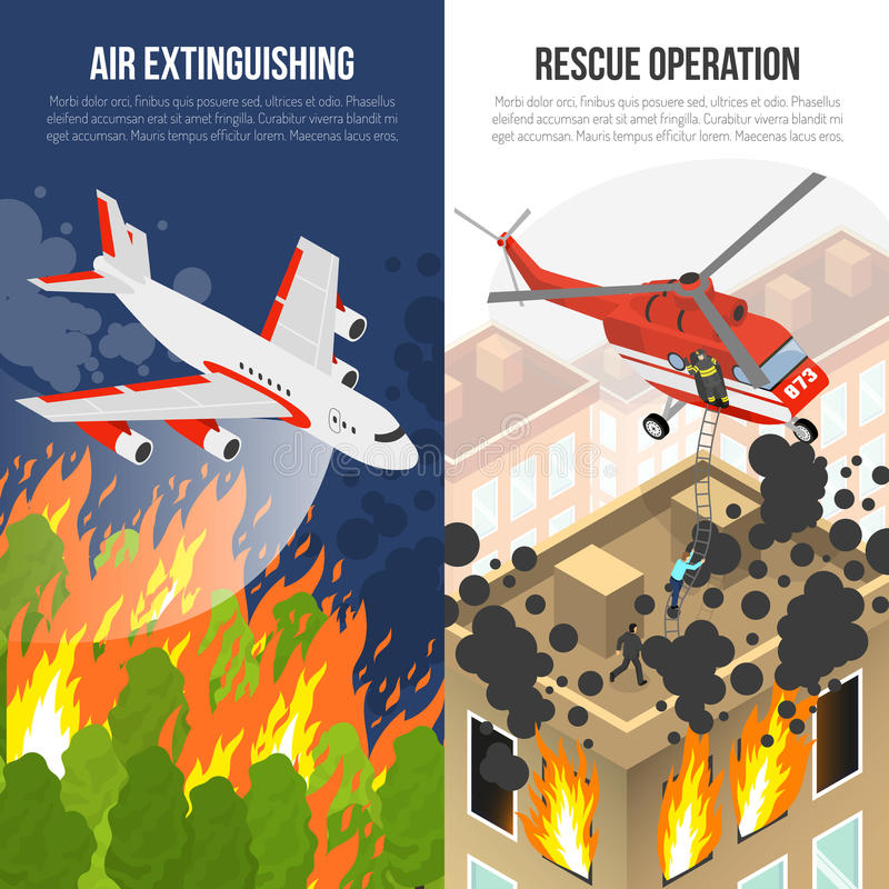 Fire Department Vertical Banners. With air extinguishing and rescue operation from burning building isolated vector illustration royalty free illustration