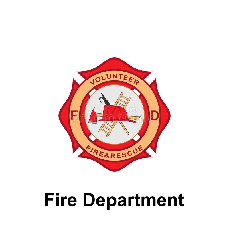 Fire Department, Volunteer icon. Element of color fire department sign icon. Premium quality graphic design icon. Signs and. Symbols collection icon for vector illustration