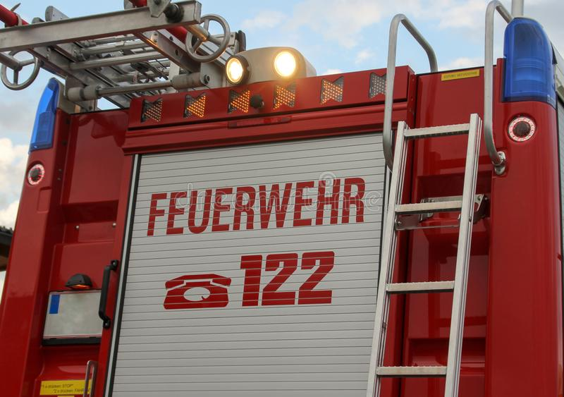 Fire department, warning sign. Road blocked by german fire department. Warning sign with the German word `Feuerwehr`, in English Fire Department royalty free stock photos