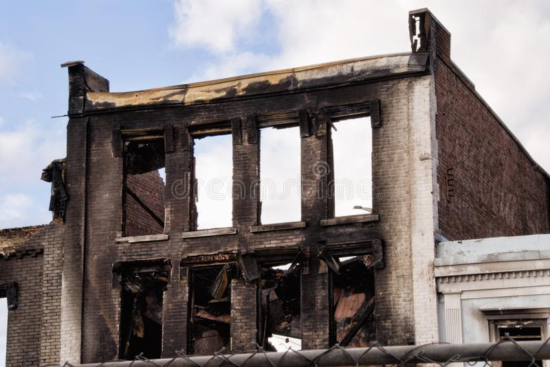 Fire Destroyed Burnt Buildings in Downtown Georgetown SC. The Front Street fire in historic downtown Georgetown South Carolina left several business destroyed royalty free stock photo